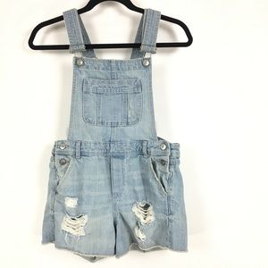 H&M Coachella distressed overall shorts sz 4